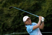 Nasa Hataoka, of Japan, watches her tee shot on the second hole during the first round of the women's golf event at the Summer Olympics, on Aug. 4, 2021, at the Kasumigaseki Country Club in Kawagoe, Japan. (AP Photo/Matt York)