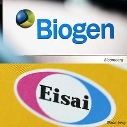 「アデュカヌマブ」を共同開発した米バイオジェン(上)とエーザイ(下) (Bloomberg)