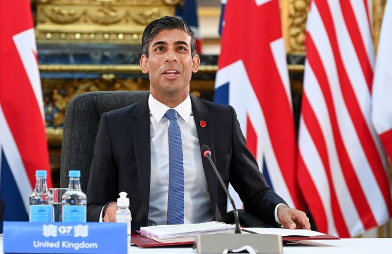 スナク英財務省(6月ロンドンで開催のG7財務省会合で) (Bloomberg)