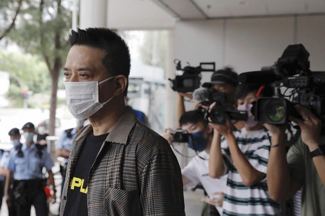 Hong Kong singer and pro-democracy activist Anthony Wong arrives at a court on Aug. 5, 2021. (AP Photo/Matthew Cheng)