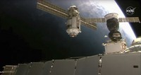 This July 29, 2021 image provided by NASA shows the 20-metric-ton (22-ton) Nauka module, also called the Multipurpose Laboratory Module as it approaches the International Space Station space station. (NASA via AP)