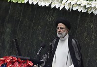 President Ebrahim Raisi delivers a speech after taking his oath as president in a ceremony at the parliament in Tehran, Iran, Thursday, Aug. 5, 2021. (AP Photo/Vahid Salemi)