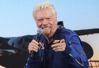 In this July 11, 2021 file photo, Richard Branson answers students' questions during a news conference at Spaceport America near Truth or Consequences, in New Mexico. (AP Photo/Susan Montoya Bryan)