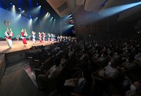 A performance of the Awa Odori dance festival takes place for the first time on a hall stage as part of the coronavirus prevention measures, in the city of Tokushima on August 12, 2021, the day before the main event.  (Mainichi / Naohiro Yamada)