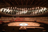 Fireworks are seen during the opening ceremony of the Summer Paralympic Games, at the Japan National Stadium in Tokyo's Shinjuku Ward on Aug. 24, 2021. (Mainichi/Rei Kubo)