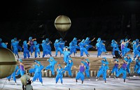 Dancers perform during the opening ceremony of the Summer Paralympic Games at the Japan National Stadium in Tokyo's Shinjuku Ward on Aug. 24, 2021. At the center is Japanese celebrity Ai Haruna. (Mainichi/Kentaro Ikushima)