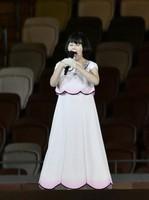 Hirari Sato sings Japan's national anthem during the opening ceremony of the Summer Paralympic Games at the Japan National Stadium in Tokyo's Shinjuku Ward on Aug. 24, 2021. (Mainichi/Toshiki Miyama)