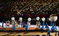 Artists perform during the opening ceremony of the Summer Paralympic Games, at the Japan National Stadium in Tokyo's Shinjuku Ward on Aug. 24, 2021. (Mainichi/Tatsuya Fujii)