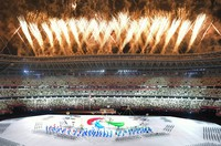 Fireworks are launched upon the completion of the