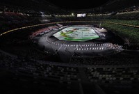 The opening ceremony of the Summer Paralympic Games is seen without an audience at the Japan National Stadium in Tokyo's Shinjuku Ward on Aug. 24, 2021. (Mainichi/Junichi Sasaki)
