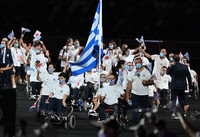 Members of the Greek delegation enter the venue during the opening ceremony of the Summer Paralympic Games, at the Japan National Stadium in Tokyo's Shinjuku Ward on Aug. 24, 2021. (Mainichi/Toshiki Miyama)
