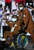 Members of the Guinean delegation enter the venue during the opening ceremony of the Summer Paralympic Games, at the Japan National Stadium in Tokyo's Shinjuku Ward on Aug. 24, 2021. (Mainichi/Toshiki Miyama)