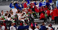 Delegations of various countries are seen during the opening ceremony of the Summer Paralympic Games, at the Japan National Stadium in Tokyo's Shinjuku Ward on Aug. 24, 2021. (Mainichi/Tatsuya Fujii)