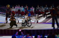 Performers are seen during the opening ceremony of the Summer Paralympic Games, at the Japan National Stadium in Tokyo's Shinjuku Ward on Aug. 24, 2021. (Mainichi/Tatsuya Fujii)