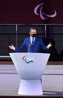 International Paralympic Committee President Andrew Parsons addresses the opening ceremony of the Summer Paralympic Games, at the Japan National Stadium in Tokyo's Shinjuku Ward on Aug. 24, 2021. (Mainichi/Noriko Tokuno)
