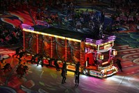 An illuminated truck is seen during the opening ceremony of the Summer Paralympic Games at the Japan National Stadium in Tokyo's Shinjuku Ward on Aug. 24, 2021. (Mainichi/Rei Kubo)