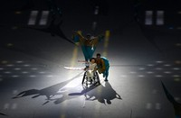 Yui Wago performs the role of a single-winged plane during the opening ceremony of the Summer Paralympic Games at the Japan National Stadium in Tokyo's Shinjuku Ward on Aug. 24, 2021. (Mainichi/Rei Kubo)