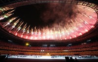 Fireworks explode during the finale of the opening ceremony of the Tokyo Paralympic Games, at the Japan National Stadium in Tokyo, on Aug. 24, 2021. (Mainichi/Toshiki Miyama)
