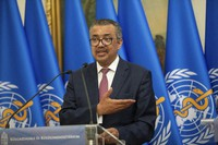 Director-General of the World Health Organization Tedros Adhanom Ghebreyesus, left, speaks during a joint press conference with Hungarian Minister of Foreign Affairs and Trade Peter Szijjarto after their talks in the ministry in Budapest, Hungary, on Aug. 23, 2021. (Balazs Mohai/MTI via AP)