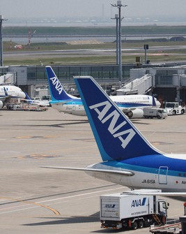 All Nippon Airways aircraft are seen lined up at Haneda Airport. (Mainichi/Kenji Yoneda)
