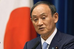 自民党総裁選への不出馬を表明した菅義偉首相=AP