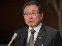 Masakazu Tokura, chairman of the Japan Business Federation, known as Keidanren, speaks to reporters after his meeting with Prime Minister Yoshihide Suga, at the prime minister's office in Tokyo, on June 3, 2021. (Mainichi/Kan Takeuchi)