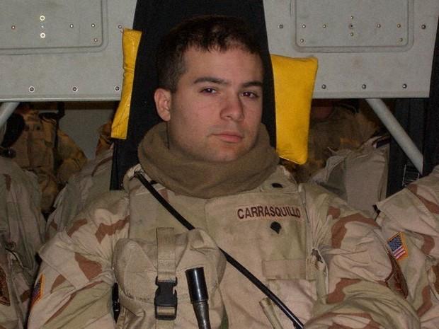 米陸軍時代のマイケル・カラスキロさん。ニューヨーク・マンハッタンの高校で米同時多発テロを目撃し、米軍への入隊を決めた=本人提供