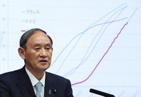 Japanese Prime Minister Yoshihide Suga speaks in front of graphs showing Japan's inoculation rate with COVID-19 vaccine comparing with other countries during his news conference at his office in Tokyo, Thursday, Sept. 9, 2021. (Kim Kyung-Hoon/Pool Photo via AP)