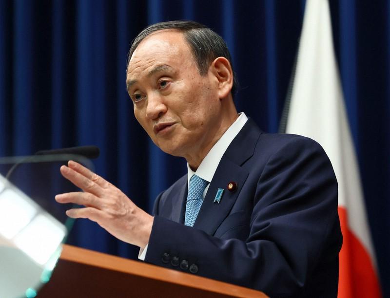 記者会見する菅義偉首相=首相官邸で2021年9月9日(代表撮影)