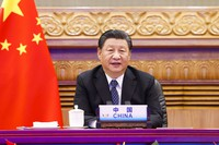 In this photo released by Xinhua News Agency, Chinese President Xi Jinping attends the 13th BRICS summit via video link in Beijing, China, on Sept. 9, 2021. (Huang Jingwen/Xinhua via AP)