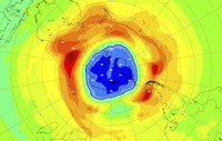 This image provided on Sept. 16, 2021 by the European Space Agency (ESA) shows a map of the ozone hole over the South Pole on 16 September 2021. (AP Photo/European Space Agency, ESA)