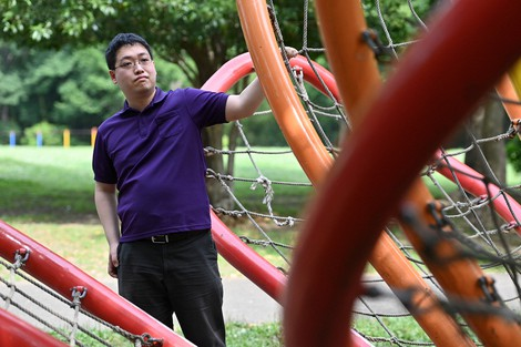 Naoya Ohashi is seen in a park where he used to play with his father when he was young. (Mainichi/Takehiko Onishi)