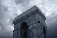 The wrapped Arc de Triomphe monument is pictured on Saturday, Sept. 18, 2021, in Paris. (AP Photo/Lewis Joly)