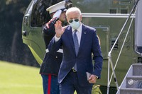U.S. President Joe Biden arrives at the White House in Washington on Sept. 20, 2021, after returning from Rehoboth Beach, Delaware. (AP Photo/Andrew Harnik)