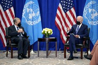 U.S. President Joe Biden meets with United Nations Secretary General Antonio Guterres at the Intercontinental Barclay Hotel during the United Nations General Assembly, on Sept. 20, 2021, in New York. (AP Photo/Evan Vucci)