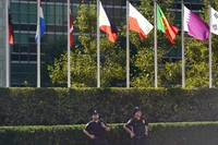 Police officers stand in front of United Nations headquarters in New York, on Sept. 20, 2021. (AP Photo/Seth Wenig)