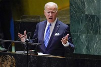 President Joe Biden delivers remarks to the 76th Session of the United Nations General Assembly, on Sept. 21, 2021, in New York. (AP Photo/Evan Vucci)