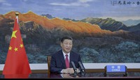 In this image to taken from video provided by UN Web TV, China's President Xi Jinping remotely addresses the 76th session of the United Nations General Assembly in a pre-recorded message, on Sept. 21, 2021, at UN headquarters. (UN Web TV via AP)