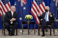 In this Sept. 21, 2021, file photo President Joe Biden meets with Australian Prime Minister Scott Morrison at the Intercontinental Barclay Hotel during the United Nations General Assembly in New York. (AP Photo/Evan Vucci)