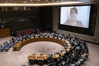 Ilwad Elman, chief operating officer of the Elman Peace and Human Rights Centre, speaks by video during a meeting of the United Nations Security Council on Sept. 23, 2021, during the 76th Session of the U.N. General Assembly in New York. (AP Photo/John Minchillo, Pool)