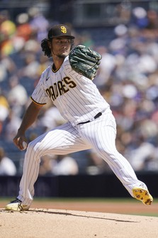 San Diego Padres starting pitcher Yu Darvish works against a San Francisco Giants batter during the first inning of a baseball game on Sept. 23, 2021, in San Diego. (AP Photo/Gregory Bull)