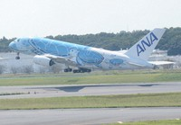 The Naha-bound All Nippon Airways Airbus A380 in sea-turtle livery is seen taking off after the runway at Narita Airport was reopened, in Chiba Prefecture, on Sept. 24, 2021. (Mainichi/Tadakazu Nakamura)