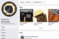 This image captured from the Battle of the Nibelungs Facebook page on Sept. 24, 2021 shows items for sale featuring the right-wing extremist group's name and logo. (AP Photo)