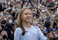 Swedish climate activist Greta Thunberg arrives at stage during a Fridays for Future global climate strike in Berlin, Germany, on Sept. 24, 2021. (AP Photo/Markus Schreiber)
