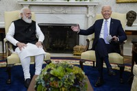 U.S. President Joe Biden meets with Indian Prime Minister Narendra Modi in the Oval Office of the White House on Sept. 24, 2021, in Washington. (AP Photo/Evan Vucci)