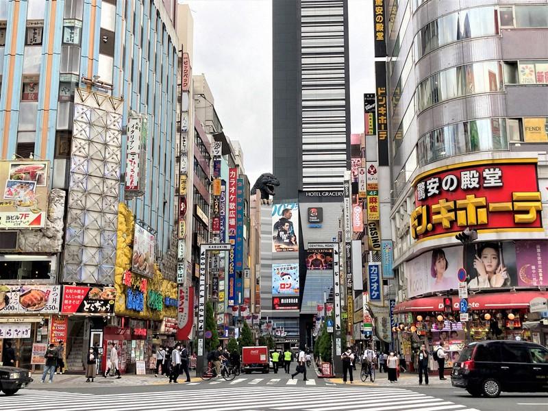 基準地価が下落した新宿・歌舞伎町。新型コロナウイルスの影響で飲食店の撤退が相次ぎ、店名の書かれていない看板が目につく=2021年9月17日午後3時46分、中津川甫撮影