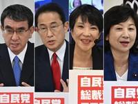 "From left, Taro Kono, Fumio Kishida, Sanae Takaichi and Seiko Noda, are seen answering questions during the online ""LDP Open Town Meeting"" held at LDP headquarters in Tokyo's Chiyoda Ward on Sept. 26, 2021. (Mainichi/Toshiki Miyama)"