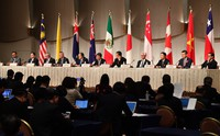 In this Jan. 19, 2019 file photo, ministers from the 11-member Trans-Pacific Partnership countries attend a press conference in Tokyo. (Mainichi/Hiroshi Maruyama)