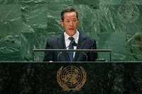 In this photo released by the United Nations, North Korea's U.N. Ambassador Kim Song speaks during the 76th session of the United Nations General Assembly, on Sept. 27, 2021, at U.N. headquarters. (Cia Park/United Nations via AP)