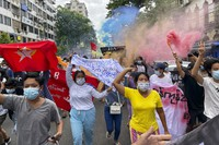 In this July 7, 2021, file photo, students protest against the February military takeover by the State Administration Council as they march at Kyauktada township in Yangon, Myanmar. (AP Photo)